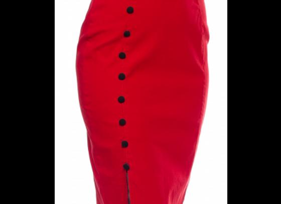 Sourpuss Fancy Red Pencil Skirt