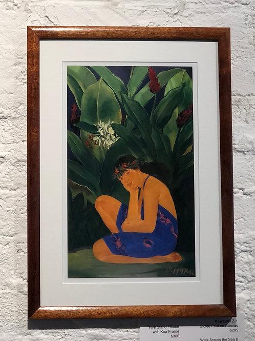 Mele Kalikimaka 89 (Yellow Ginger) framed in Solid Koa