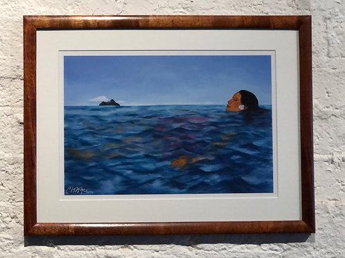 Swimming II framed in Solid Koa
