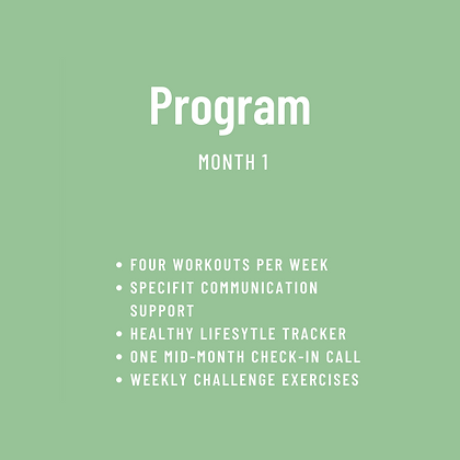 SpeciFit Program Month 1