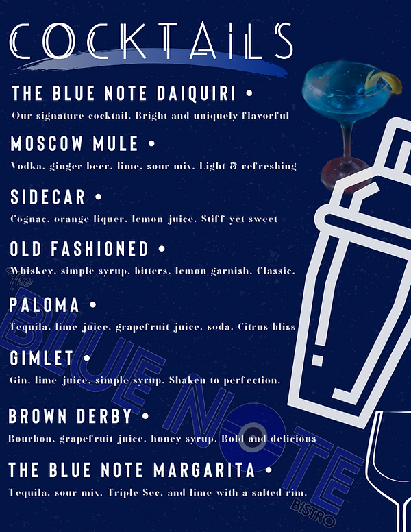 The Blue Note Bistro's Drink Menu