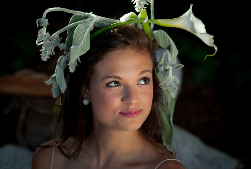 Young woman with a calla Lilly flower crown