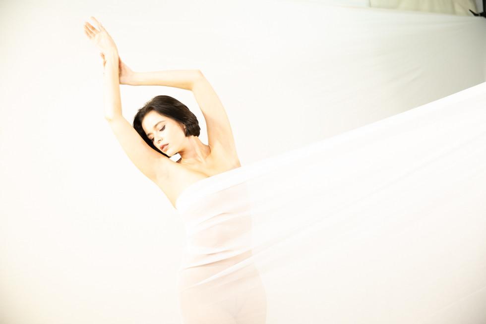 Woman in white Satin