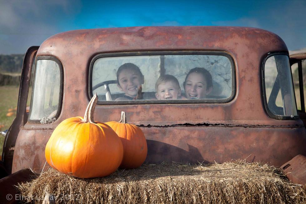 kids in a rusty truck window