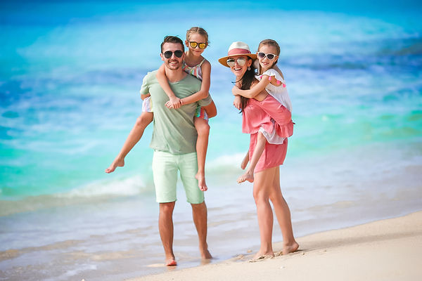 Young family on vacation have a lot of f