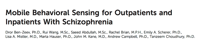 Mobile behavioral sensing for outpatients and inpatients with schizophrenia