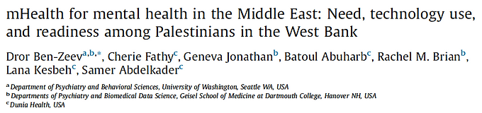mHealth for mental health in the Middle East: Need, technology use, and readiness among Palestinians in the West Bank