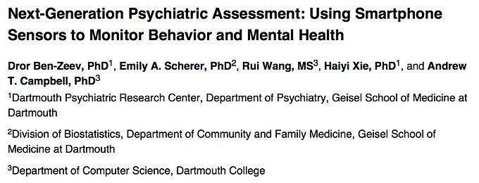 Next-generation psychiatric assessment: using smartphone sensors to monitor behavior and mental health