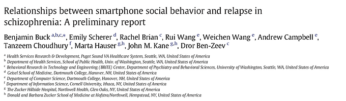 Relationships between smartphone social behavior and relapse in schizophrenia: A preliminary report