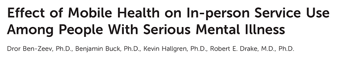 Effect of Mobile Health on In-person Service Use Among People With Serious Mental Illness