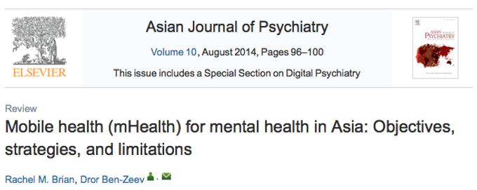 Mobile Health (mHealth) for mental health in Asia: objectives, strategies, and limitations.
