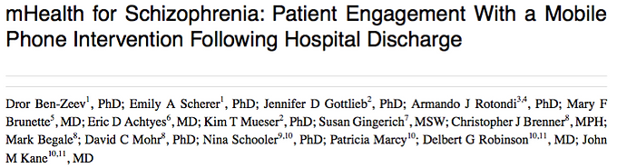 mHealth for Schizophrenia: Patient Engagement with a Mobile Phone Intervention Following Hospital Discharge