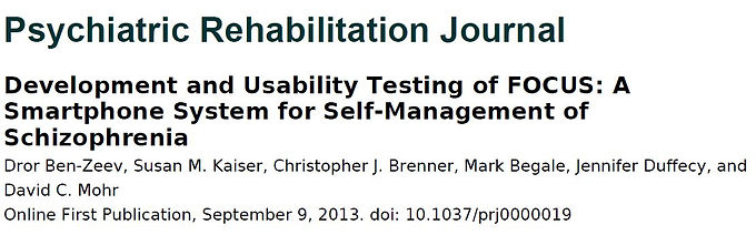 Development and Usability Testing of FOCUS: A Smartphone System for Self-Management of Schizophrenia.