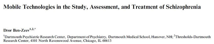 Mobile technologies in the study, assessment, and treatment of schizophrenia.