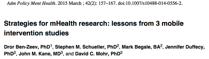 Strategies for mHealth research: lessons from 3 mobile intervention studies.