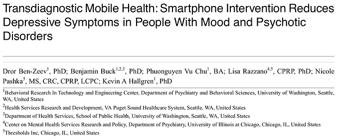 Transdiagnostic Mobile Health: Smartphone Intervention Reduces Depressive Symptoms in People with Mood and Psychotic Disorders