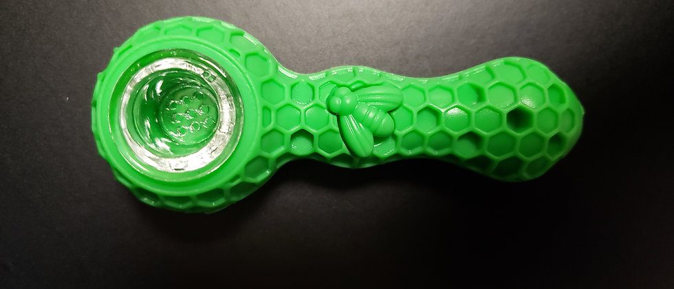 """4.5 """" Silicone Bee 🐝 Pipe With Dish & Tool"""
