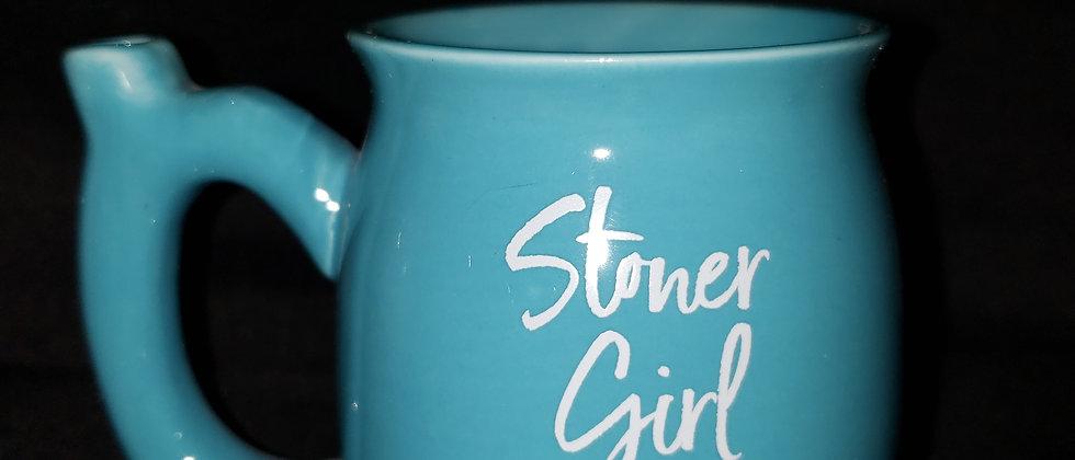 Blue Stoner Girl Smoking Mug