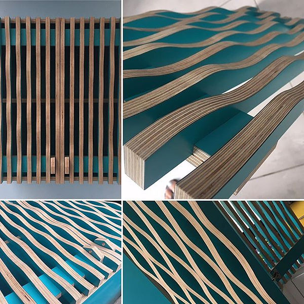 More photos of our wavy kitchen cabinet.