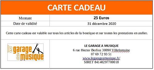 Carte cadeau 25Euros