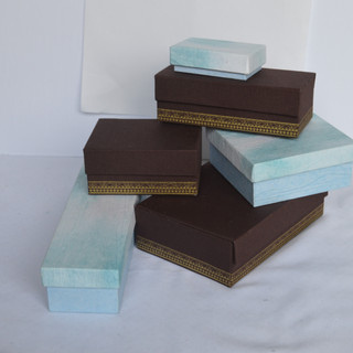 Jewelry Boxes Tie Die and Brown Fabric.j