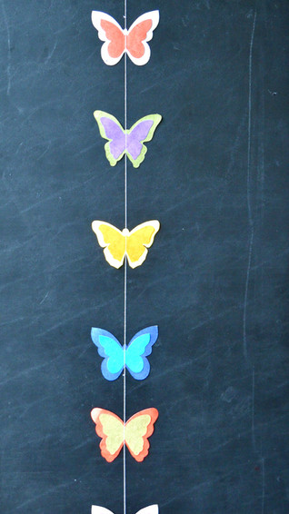 Garland Colorful Butterfly  Medium on Bl