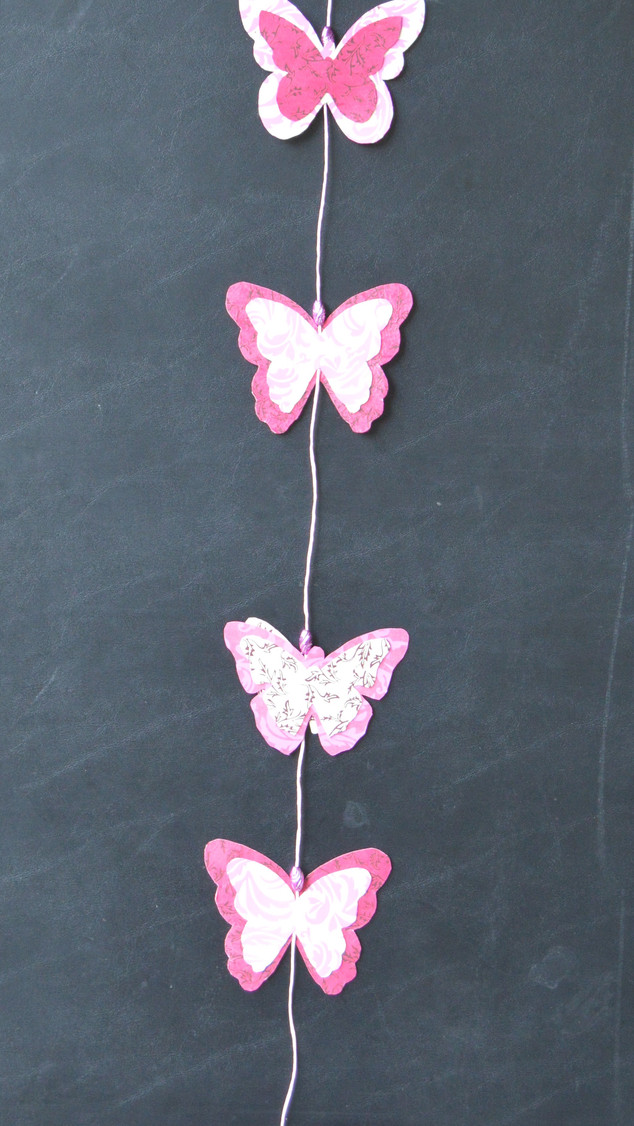 Garland Large Pink Butterfly on Black Ba