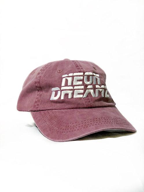 """Red/Burgundy Washed  """"Neon Dreamz"""" Dad Hat"""