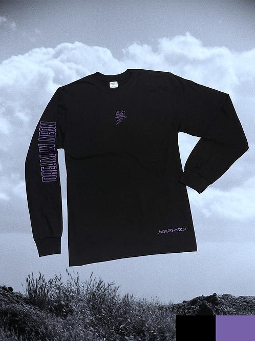 """Long Sleeve """"Dream in Neon"""" Tee - Black/Purple"""