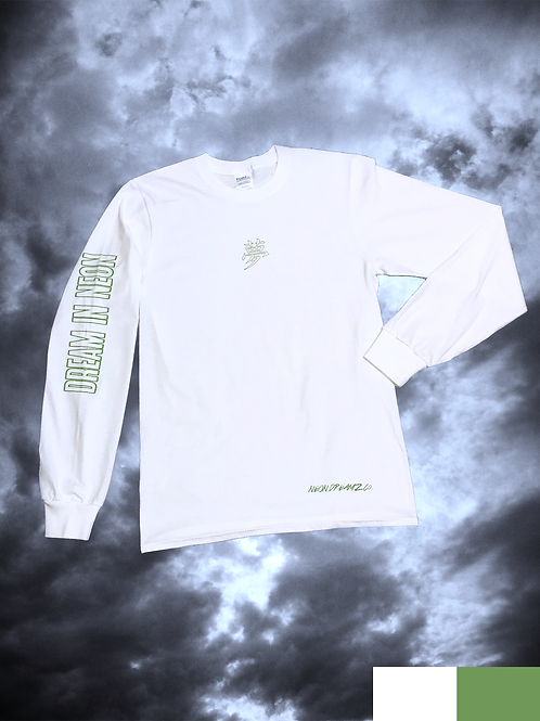 "Long Sleeve ""Dream in Neon"" Tee - White/Green"