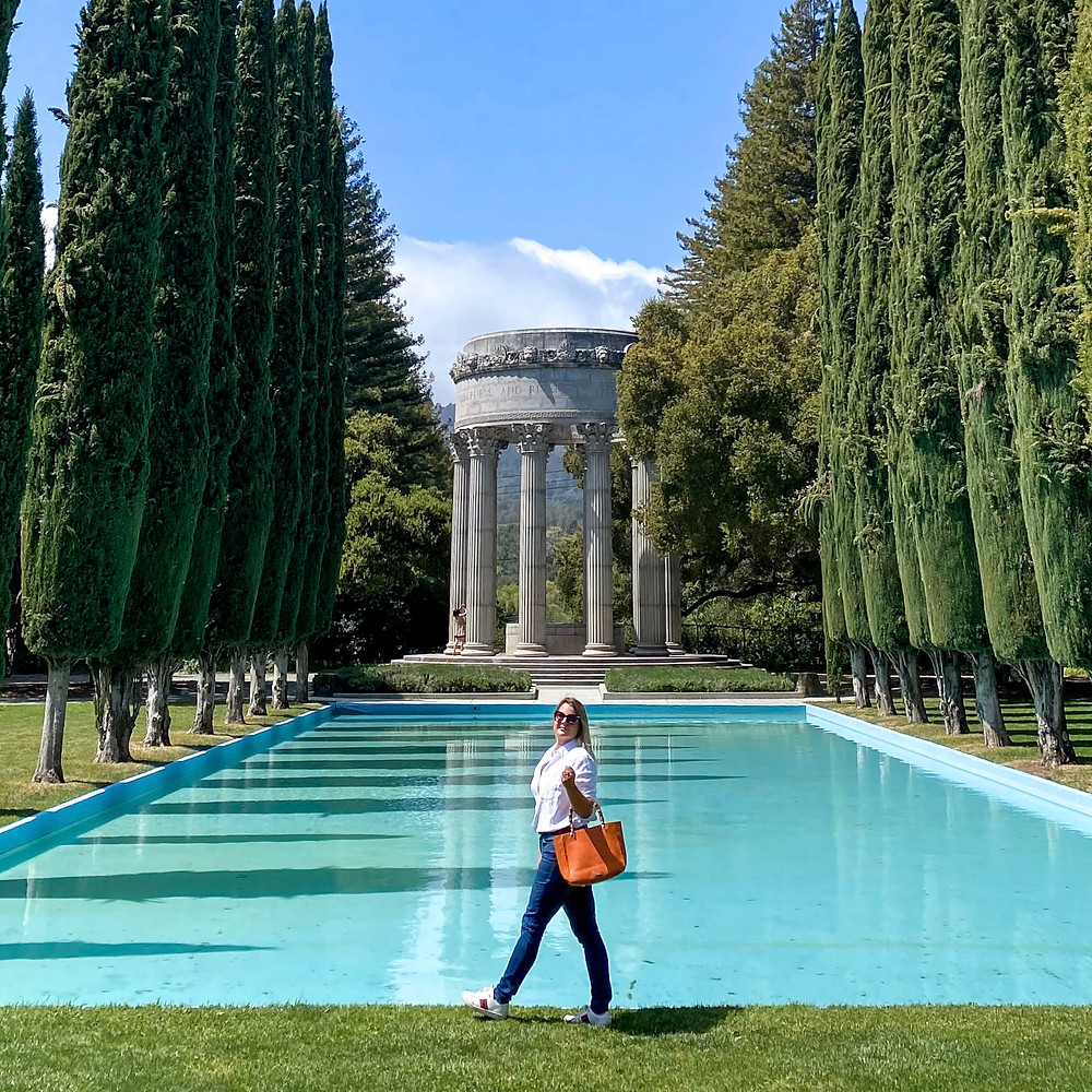 Blogger Rosanna Stevens at the Pulgas Water Temple in San Mateo County, California