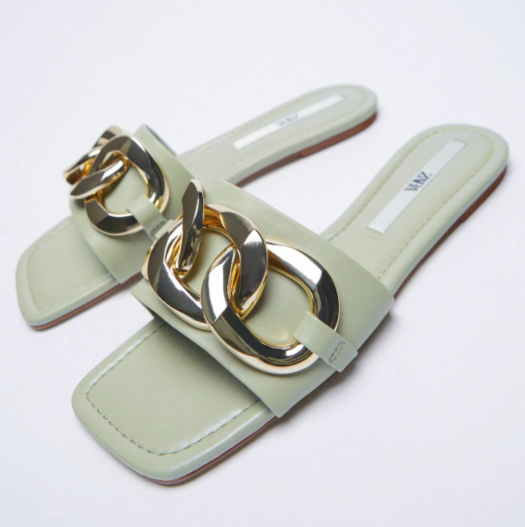 Zara pistachio green sandals