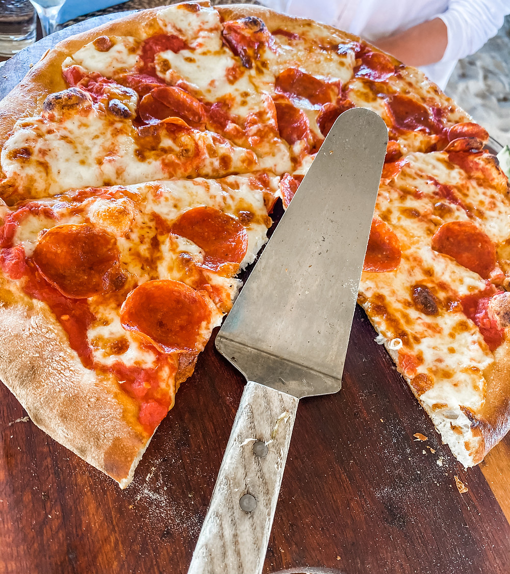 The pizza at Mare at Turtle Inn, Belize