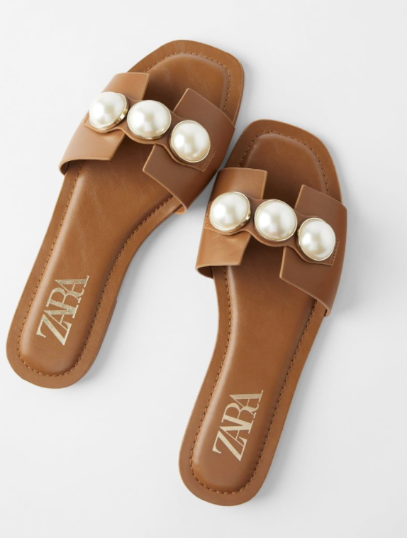 Zara sandals with giant pearl detail