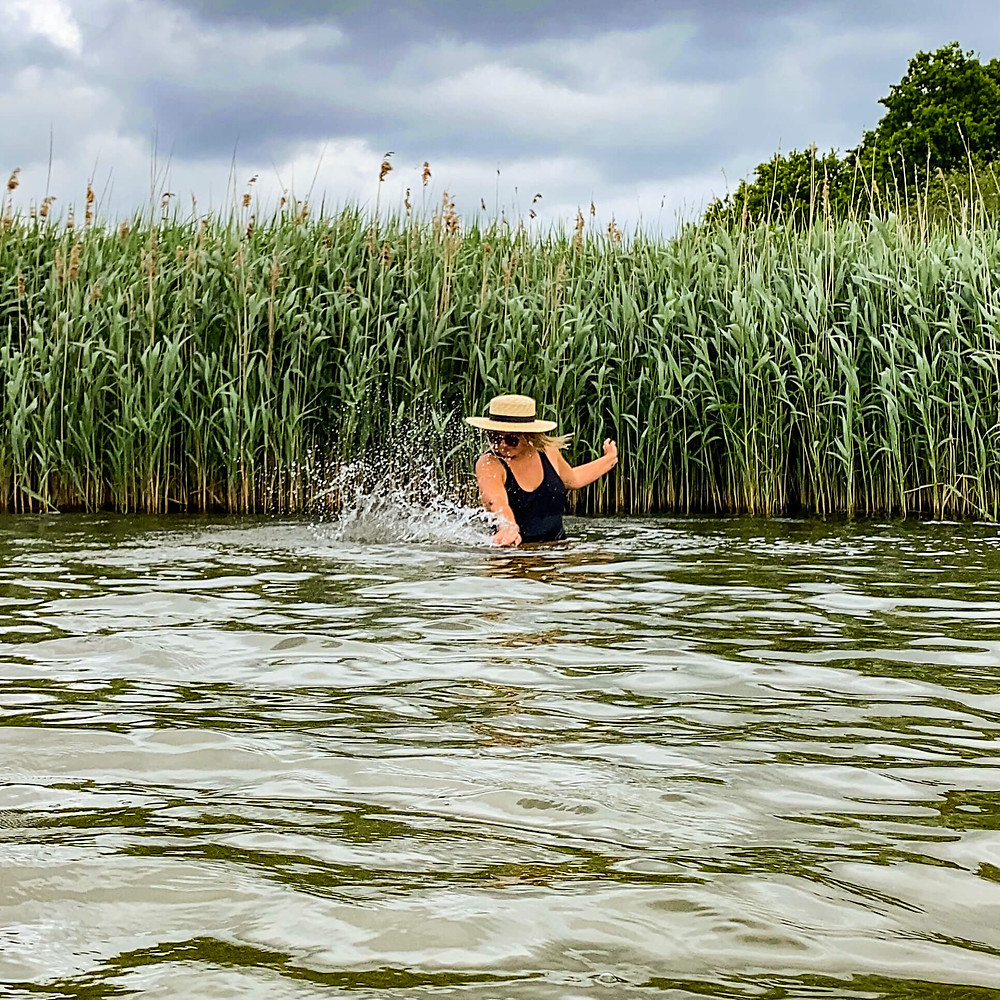 Rosanna Stevens wild swimming at Frensham Pond in Surrey