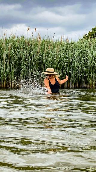 Wild swimming at Frensham Pond in Surrey