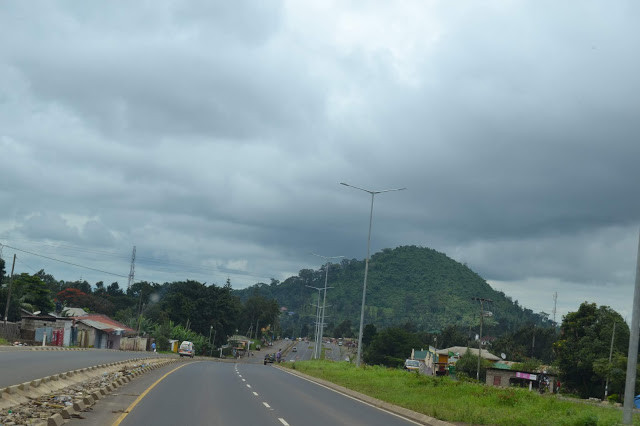 Mountains and road in Arusha Tanzania