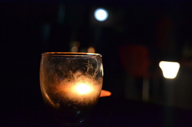 candlelight in glass