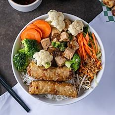 V4 . tofu & vegie with 2 vegie spring rolls noodle bowl