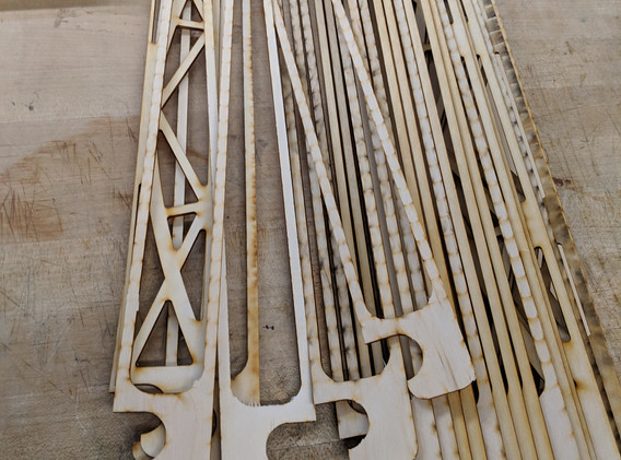 The constituent parts of the bridge to be laminated together