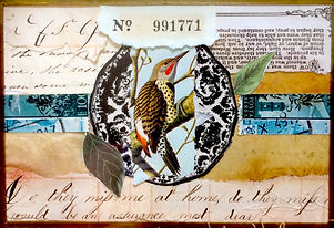 ephemera collage bird jennifer dowdell