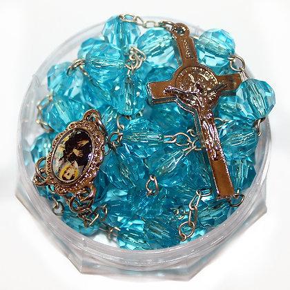 Terço acrílico - Azul semi transparente