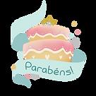 Desenho de bolo com escrito parabéns na página de aniversariantes