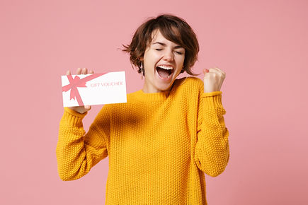 Joyful young brunette woman girl in yell