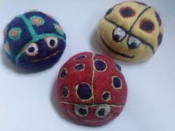 felted ladybirds
