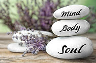 Composition of lavender flowers and zen