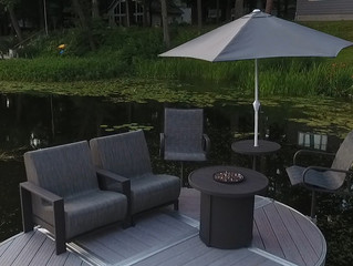 Cozy Up On Your Dock With Premium Dock Furniture & a Dockside Fire Table this Fall