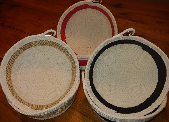 Striped Three Strand Cotton Rope Basket