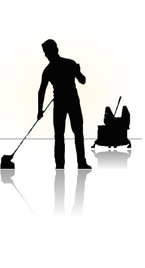 Diagram of office cleaner mopping the floor.