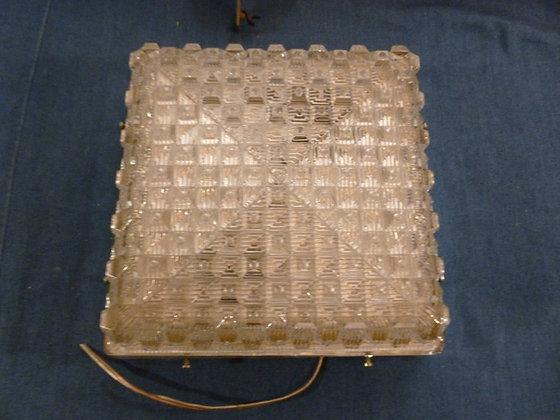 Plafoniera vetro acciaio, quadrata, vintage anni '60 '70